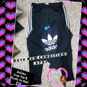 Adidas 2 pc Set in Med.3 Stripe Pants,Cropped top.